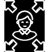 Icône d'un homme avec 4 flèches qui partent chacune à l'extérieur